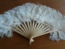 Vintage Antique Victorian Childs Girls Ostrich Feather Celluloid Fan