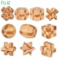 10 pcs/set  3D handmade vintage Ming lock Luban lock wooden toys adults puzzle c