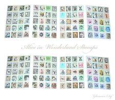 2 Juegos de pegatinas de sello de Alicia en el país de las Maravillas Sombrerero Loco Deco Vintage Art Craft
