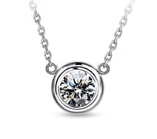 Round crystal pendant silver necklace jewerly