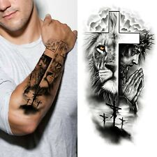 Cross Lion Waterproof Temporary Tattoo Sticker Fake Tatoo Body Art Arm Men Women