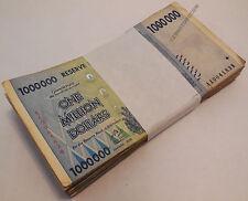1 Million Dollars Zimbabwe x 100 Banknotes AA AB 2008 Bundle Lot Before Trillion