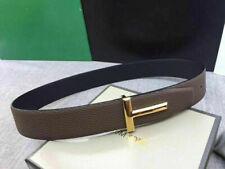 Tom Ford Black Brown Leather Reversible T Buckle Logo Belt 85/34