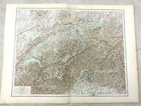 1895 Map of Switzerland Swiss Alps Europe Old Antique 19th Century Large