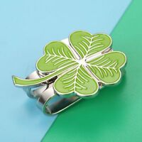 Wonderful Four Leaf Clover Hat Clip With Magnetic Golf Ball Marker Rub For Luck