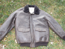 Vintage L.L. BEAN Leather Flying Tiger Jacket WOOL LINED Mouton Collar Sz L Tall