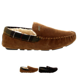 Mens Barbour Monty Moccasin Suede Luxury Fur Winter Indoor Slippers All Sizes