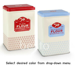 Flour Storage Plain & Self Raising Retro Style Tins Containers Kitchen Canister