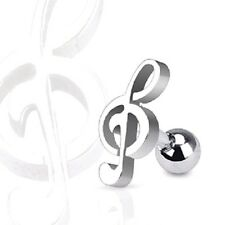 Treble Clef MUSIC NOTE Steel TRAGUS CARTILAGE Stud Ear Ring Piercing Jewelry
