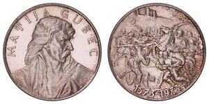 K.615} CROATIA Matija Gubec 25.70 g probably .900 Silver Medal VF+