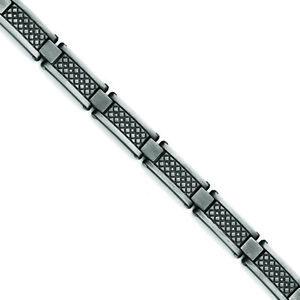 "Chisel Stainless Steel Matte/Antiqued 1/10ct.tw Diamond Bracelet 9"""