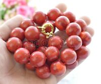 """Rare Huge 20mm Genuine Red Coral Round Gemstone Beads Necklace 18"""" AAA"""