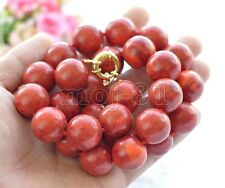 """Round Gemstone Beads Necklace 18"""" Aaa Rare Huge 20mm Genuine Red Coral"""