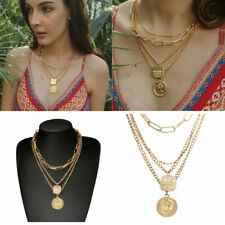 Women Gold Plated Multilayer Clavicle Necklace Pendant Choker Chain Jewelry