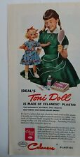1954 Celanese Plastics girl pigtails and ideal Toni doll vintage ad