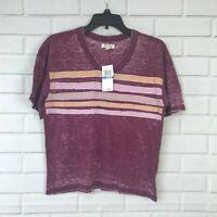 Ultra Flirt Top Juniors Striped Football T-Shirt Maroon V-Neck Womens Sz XS M L