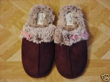 Levi Signature Women's Brown Sherpa Velour Scuff Slippers Sizes 9-10 Large