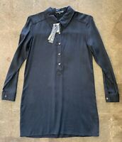 Michael Stars Black Collard Long Sleeve Shirt Dress Size Womens Small