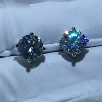 4Ct Round Cut Moissanite Push Back Solitaire Stud Earrings 14K White Gold Finish