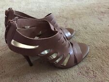 e2569d6da7d CATHY JEAN Brazil Strappy Brown Leather High Heels Size 7