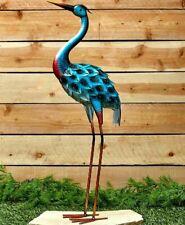 3 Ft Blue Heron Bird Garden Yard Statue Metal Stake Lawn Art Decor Ornament