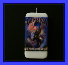 America Let Freedom Reign - Eagle Pendant Or Key Chain For The 4th Of July