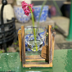Hydroponic One Pot Wooden Stand For Flowers Fronds Stems & Sm Plants Great Gift
