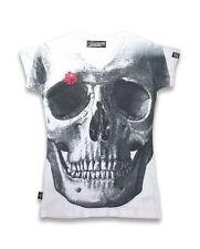 V Neck Skull Regular Size T-Shirts for Women