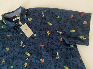 NWT $140 Tommy Bahama Men Shirt Collared Silk Cotton Short Sleeve 1XLB XL Blue
