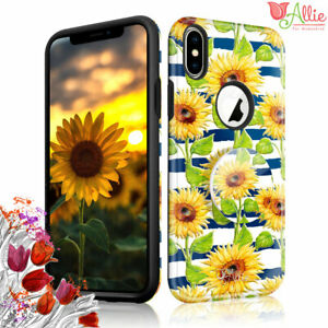 For Apple iPhone 6 Xs Max 8 Plus 7 Case [SUN FLOWER] Stick Stand Cover For Girls