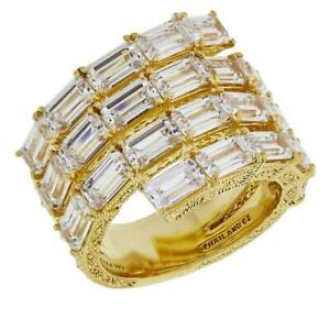 JUDITH RIPKA 925 St Silver Gold-Plated Diamonique Wrap Ring Size 6 - NEW