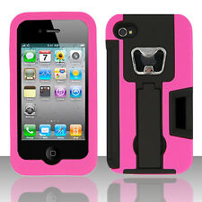 For Apple iPhone 4 KICKSTAND Case Bottle Opener Card Holder Black Pink