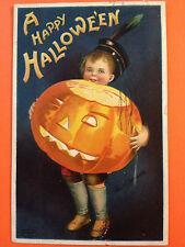 Halloween Fantasy Postcard In'l Art, 1910 Germany boy huge lighted JOL