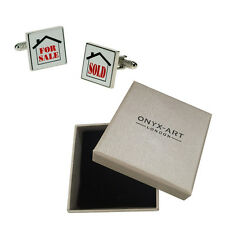 Mens Estate Agent Novelty Joke Cufflinks & Gift Box By Onyx Art