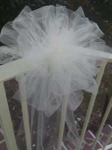 12 IVORY or any color Tulle Wedding Pew Bows Arche Gazabo Rails  RUSH AVAIL