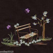 Ten Embroidered Quilt Blocks - ENCHANTED GARDEN - SET THREE ON BLACK KONA COTTON