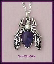 Silver Plated Necklace Large Beetle Scarab Imitation Purple Amethyst Pendant