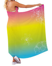 TROPICAL FLORAL DESIGN CHIFFON SARONG SWIMWEAR BEACH COVER UP WRAP X-LARGE
