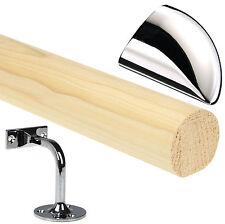 Pine 1.8mtr Mopstick Handrail, Chrome Handrail Brackets & End Caps