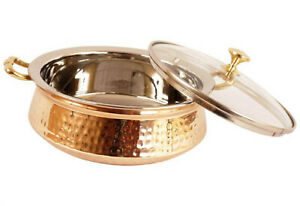"""Copper Hammered Cassrole 500 ML """"Handi"""" Glass Cover Lid Serving Dishes"""