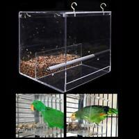 Acrylic No-Mess Bird Feeder Parrot For Cage Automatic Food Station Feeding