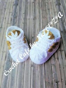 HANDMADE CROCHET BABY UNISEX  BOOTIES ATHLETIC SHOES SNEAKERS  ADIBAS SUPER STAR