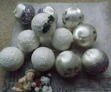Vintage Christmas tree balls baubles white mauve purple sparkle satin
