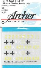 Archer German Pz.IV Ausf. F1 F2 14 Panzer Division Russia 1942 Decals AR35229