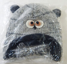 Hand Knitted Wool Hooty Owl Hat with Tassles Fleece Liner One Size