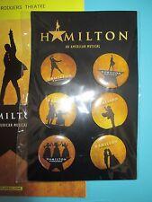 NEW Hamilton Broadway Musical Set of Six 6 Buttons Lin Manuel Miranda