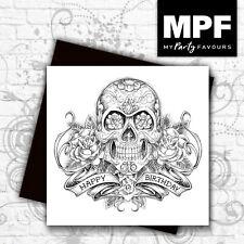 'Sugar Skull & Roses' hand made tattoo/punk/biker/goth/rocker birthday card