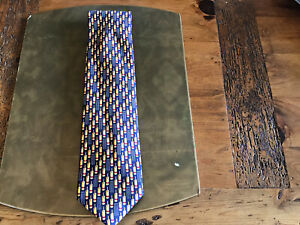 Marks And Spencer 100% Silk Tie With Cricket Design VG Condition