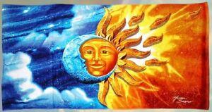 New Celestial Sun and Moon Pool Bath Beach Gift Large Towel 30x60 Stars Clouds