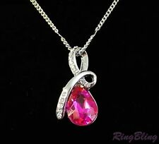 REDUCED! Elegant Pink Sapphire Crystal Pendant Necklace - 70% OFF MRP CLEARANCE!